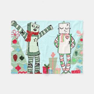 Cobertor De Velo Robôs, presentes & árvore Pastel do feriado do
