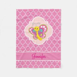 Cobertor De Velo Rosa colorido Quatrefoil da borboleta com nome