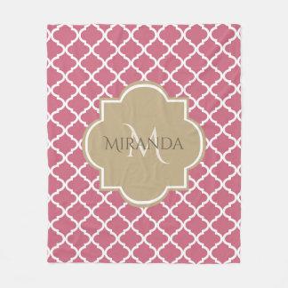 Cobertor De Velo Rosa cor-de-rosa Tan Quatrefoil do monograma