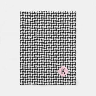 Cobertor De Velo Rosa Houndstooth do preto do monograma, o branco e