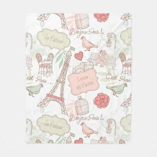 Cobertor De Velo Rosa lunático da torre Eiffel de Paris