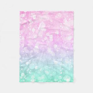 Cobertor De Velo Rosa Pastel & brilho & Sparkles Glam verdes de