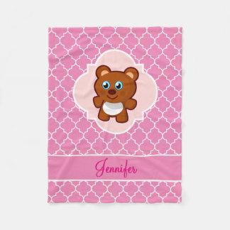 Cobertor De Velo Rosa Quatrefoil do urso de ursinho com nome