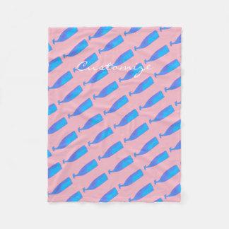 Cobertor De Velo rosa subaquático azul de Thunder_Cove das baleias