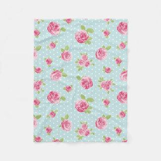 Cobertor De Velo Rosas florais do chique da cobertura do velo do