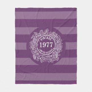 Cobertor De Velo Roxo do ano do nascimento do selo do vinho da