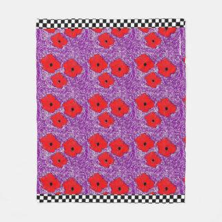 Cobertor De Velo Roxo e papoila realmente vermelha flower power