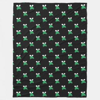 Cobertor De Velo Sapos verdes na cobertura preta do velo