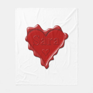 Cobertor De Velo Sara. Selo vermelho da cera do coração com Sara