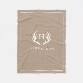 Cobertor De Velo Serapilheira rústica do monograma dos Antlers dos