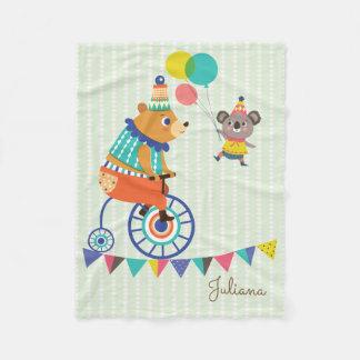 Cobertor De Velo Série do circo - o urso e o Koala