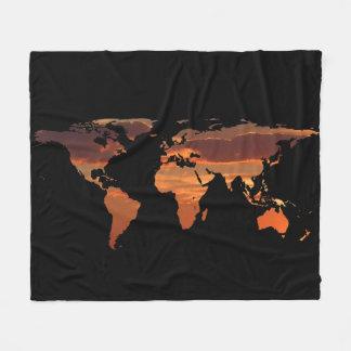 Cobertor De Velo Silhueta do mapa do mundo - por do sol romântico
