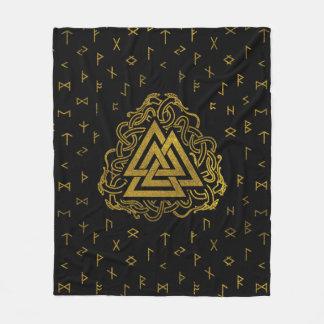 Cobertor De Velo Símbolo de Valknut do ouro no teste padrão dos