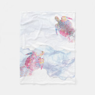 Cobertor De Velo Tartaruga de mar da aguarela