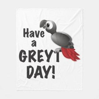 Cobertor De Velo Tenha um dia de Greyt - grande papagaio do cinza