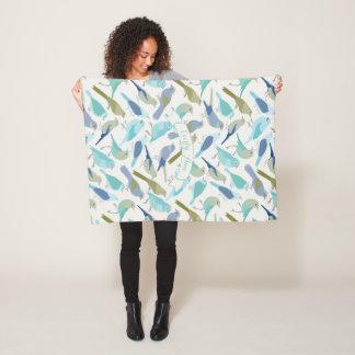 Cobertor De Velo Teste padrão azul personalizado do pássaro da