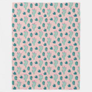 Cobertor De Velo Teste padrão bonito do cacto do rosa e do verde