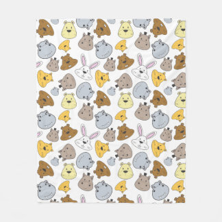 Cobertor De Velo Teste padrão bonito do retrato dos animais dos
