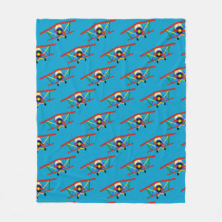 Cobertor De Velo Teste padrão colorido do avião no azul