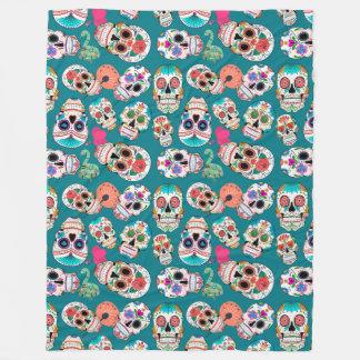 Cobertor De Velo Teste padrão colorido dos crânios do açúcar