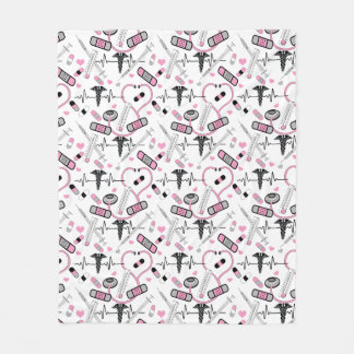 Cobertor De Velo Teste padrão cor-de-rosa bonito do estetoscópio do