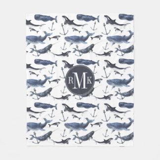 Cobertor De Velo Teste padrão da baleia & da âncora da aguarela