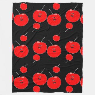 Cobertor De Velo Teste padrão da cereja vermelha e preta