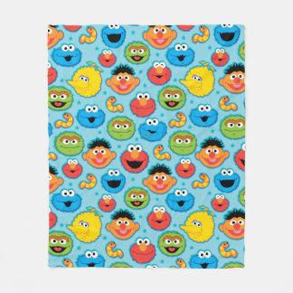 Cobertor De Velo Teste padrão das caras do Sesame Street no azul
