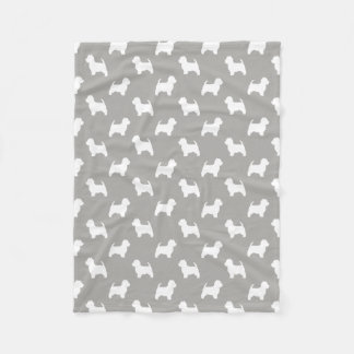 Cobertor De Velo Teste padrão das silhuetas de Terrier branco de