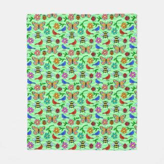 Cobertor De Velo Teste padrão de flor verde do pássaro da abelha da