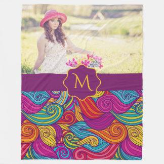 Cobertor De Velo Teste padrão de onda colorido retro de Swirly do