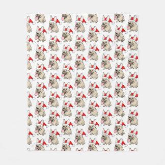Cobertor De Velo Teste padrão do buldogue francês do Natal