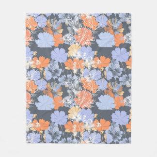 Cobertor De Velo Teste padrão floral alaranjado violeta cinzento do
