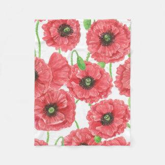 Cobertor De Velo Teste padrão floral das papoilas da aguarela