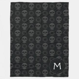 Cobertor De Velo Teste padrão preto dos crânios e das engrenagens