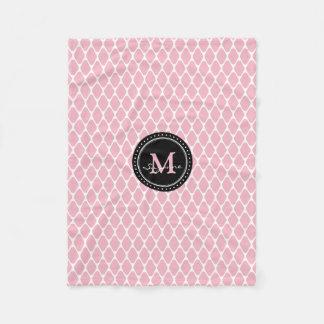 Cobertor De Velo Teste padrão rosa pálido branco da treliça
