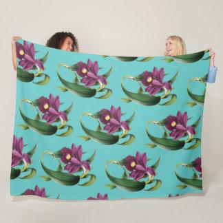 Cobertor De Velo Teste padrão roxo da cerceta das orquídeas