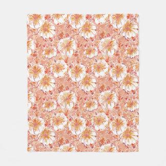 Cobertor De Velo Teste padrão tropical do hibiscus do pêssego de
