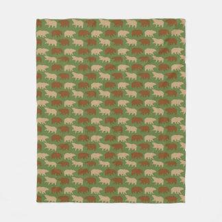 Cobertor De Velo Teste padrão verde do urso