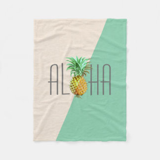 Cobertor De Velo Texto da ilustração do vintage do abacaxi Aloha