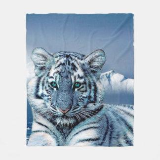 Cobertor De Velo Tigre branco azul