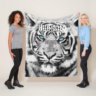 Cobertor De Velo Tigre branco personalizado do tigre de Bengal