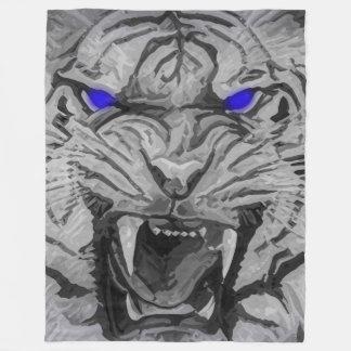 Cobertor De Velo Tigre de Bengal branco do gato grande com os olhos