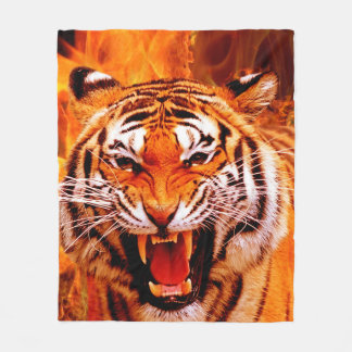 Cobertor De Velo Tigre e chama
