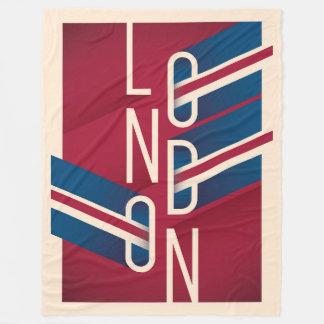 Cobertor De Velo Tipografia ilustrada retro de Londres, Inglaterra