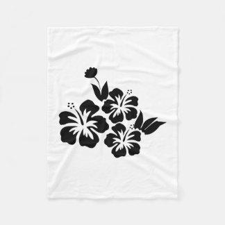 Cobertor De Velo Três flores tropicais do hibiscus preto