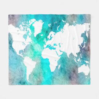 Cobertor De Velo Turquesa do aqua do mapa do mundo do design 62