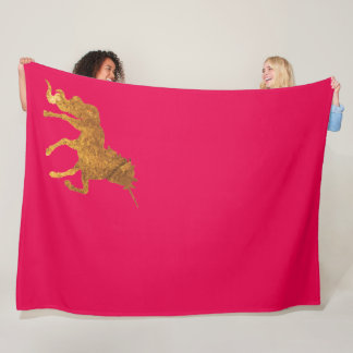 Cobertor De Velo Unicórnio Prancing dourado mágico no revestimento