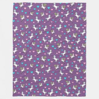 Cobertor De Velo Unicórnios, Pegasus e corações azuis, cor-de-rosa