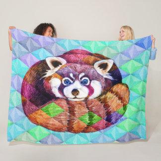 Cobertor De Velo Urso de panda vermelha no cubism de turquesa